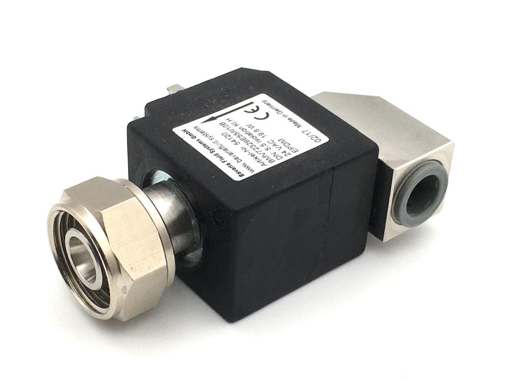 2/2-Wege-Coaxial-Getränke-Magnetventil BMV72330 in Edelstahl, strömungsoptimiert, 90° Eingang für Bier, kohlensäurehaltige Getränke