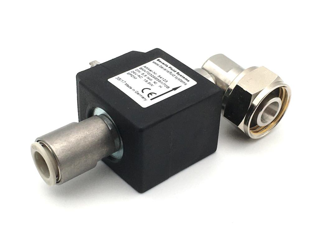 2/2-Wege-Coaxial-Getränke-Magnetventil BMV73028 in Edelstahl strömungsoptimiert 90° Ausgang für Bier, kohlensäurehaltige Getränke
