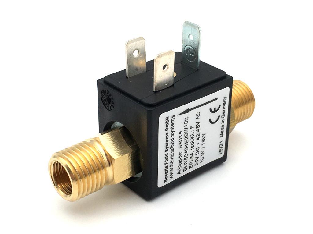 2/2-Wege-Coaxial-Gas-Magnetventil BMV60404 in Messing für Laser- und Lichtbogen-Schweißgeräte mit Schutzgas - MAG, MIG, WIG und für Brennschneidanlagen